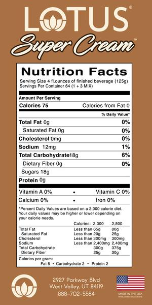lotus super cream nutrition info