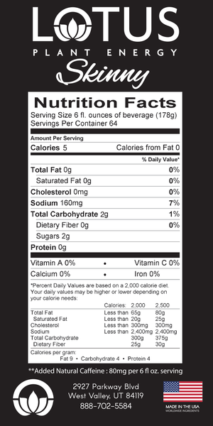 Skinny Pink Lotus Energy Concentrate Nutrition Info